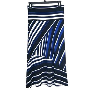 Susan Lawrence Small Black Blue Stripe Flowy Skirt